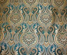 """Chenille Upholstery fabric Damask Jaclyn 56"""" Wide Turquoise Drapery Sofa yard"""