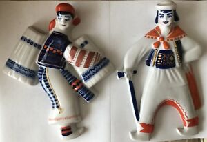 """Vintage Mongolian ? Costumed Couple 10.5"""" Tall Porcelain Wall Plaques Signed"""