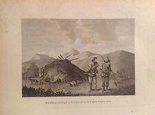 ABITAZIONE  POPOLO Tschuktschi caccia acquaforte orig 1802 sec.RUSSIA ASIA