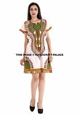 Women's Traditional African Print Dashiki Bodycon Short Sleeve Slim Dress White