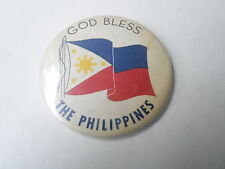 VINTAGE PINBACK BUTTON #74-011 - GOD BLESS THE PHILIPPINES