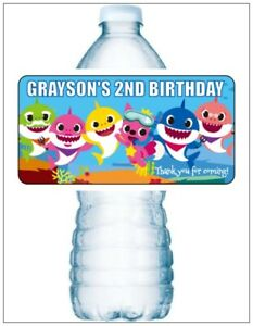 20 BABY SHARK BIRTHDAY PARTY Water Bottle Labels Personalized