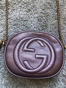 Genuine Gucci Metallic Purple Soho Mini Chain Bag Ltd Ed Rare Discontinued