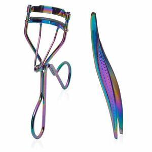 Metallic Rainbow Eyelash Curler and Tweezers for Women (2 Piece Set)