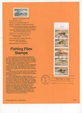US 1991 FDC USPS Souvenir Page Fishing Flies First Day Pane of 5 Stamps!  