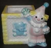 Napcoware Napco Japan 734 Nursery PLANTER Ceramic Block Clown Circus Label