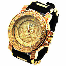 Mens Gold Gold Iced Out Deep Dial Hip Hop Fashion Silicone Quartz Wrist Watch