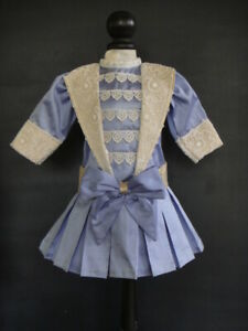 """Blue Silk French Doll Dress for 16-17"""" doll - Antique Style - Made in France."""