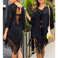 Women's Boho Crochet Patched 3/4 Sleeve Beach Cover Up w/Long Tassels