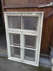 6411. Altes Biedermeier Fenster mit Rahmen + Oberlicht Kastenfenster 147 x100 cm