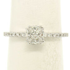 Italian 18k White Gold 0.94ctw 4 Trillion Cut Diamond Illusion Solitaire Ring
