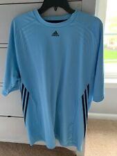 Adidas Mens Blue Athletic Tshirt Xl with black stripes on sides