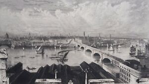 London Bridge from the tower of St Saviours. Boats on Thames. Antique 1865. 1372