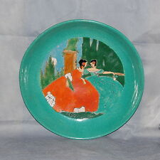 San Jose Pottery Fashion Plate Ladies Sgraffito Glazed Pottery Bowl