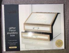 BNIB Gold Glitter Mirror Jewellery Box With Removable Jewellery Tray