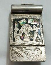 Vintage Mexican Money Clip Alpaca Silver with Abalone Inlay Aztek Design