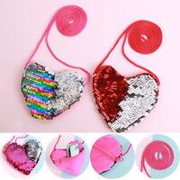 Cute Coin Purse Mermaid Sequins Loving Heart Wallet Handbags Mini Messenger Bag
