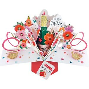 Birthday Card 3D Pop Up Card Prosecco Female Mum Wife Sister Daughter Gift Card