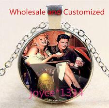 Marilyn Monroe Cabochon Tibetan silver Glass Chain Pendant Necklace #4710