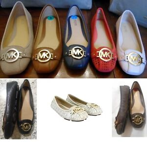 Michael Kors Fulton Moc Flats Vanilla MK Brown Leather or MK Coral Pink
