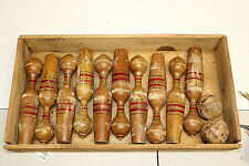 Vintage antique skittle bowling set with box complete and very old