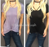 Strappy Caged Scoop Neck Twist Knot Relaxed Fit Short Sleeve Tee T-Shirt Top