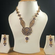 BLUE GOLD INDIAN JEWELLERY NECKLACE EARRINGS SET RHINESTONE CRYSTAL NEW GIFT 480