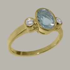 Solid 14ct Yellow Gold Natural Aquamarine & Diamond Womens Trilogy Ring