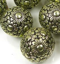 10 Large Antique Bronze Metal Plated  Acrylic Flower Flat Round Beads