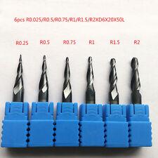 6pcs  R0.25-R2 2F 6mm shank Carbide Taper Ball Nose EndMill  For CNC Carving Bit