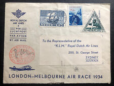 1934 Rotterdam Netherlands Airmail Cover To Sydney Australia Air Race