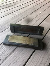 ANTIQUE BARBER Straight RAZOR SHARPENING HONE STONE SIGNED Williams W Wood BOX