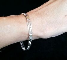 Sterling Silver Open Egyptian Key Design Bracelet. Groovy!