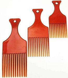 3 Plastic Afro Hair Comb African Detangler Detangling Wide Teeth Brush Pik