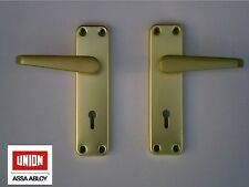 UNION SWALLOW LOCK ON BACKPLATE DOOR HANDLES - SATIN ALUMINIUM ANODISED GOLD