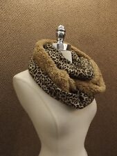 Warm Cozy Cheetah Print Faux Shearling Fur Infinity Neck Scarf 11x60 NEW NWOT