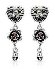 ED HARDY Stylish Tiger & Skull Earrings With Genuine Crystal in Stainless steel