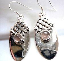 Rose Quartz Earrings Cabochon Tribal Style 925 Sterling Silver Dangle Drop New