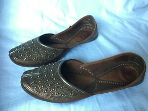 Bohemian Handmade Indian Beaded Brown Leather Flats Shoes Slippers Pumps  Size 7