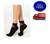 HUE Women's Super Soft Cropped Socks Black Multi Argyle One Size - NWT