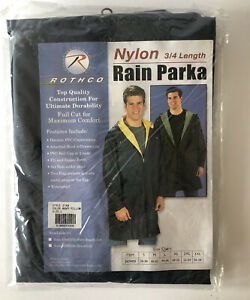 ROTHCO REVERSIBLE MENS NAVY/YELLOW WATERPROOF NYLON 3/4 LENGTH L RAIN PARKA-NEW