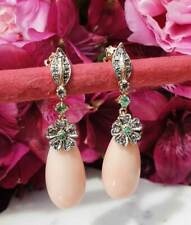 Antique Inspired 14ct Yellow Gold Pink Coral Drop Earrings With Diamonds