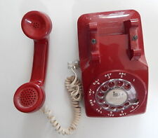 Bell System Rotary Dial Phone Red (White Cord) Public Telephone R13880