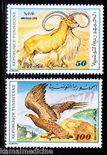 Tunisia MNH 2v, Eagle, Birds of Prey, Mountain Goat, Animals - Bi22