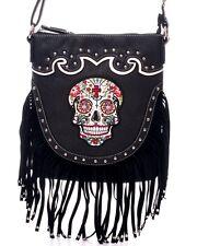 Sugar Skull~Day of the Dead~Western Fringed Crossbody Bag Purse~Gothic~Punk~BLK