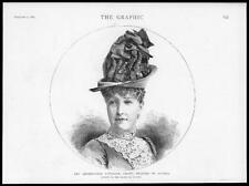 1889 Antique PORTRAIT Print - AUSTRIA Archduchess Stephanie Crown Princess  (50)
