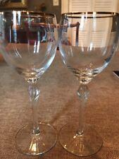 LENOX crystal MONROE Gold Wine Goblet Glass - Two (2)  6 Oz