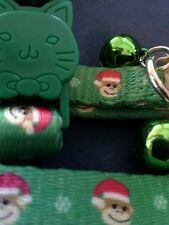 Tops E Side Collection Fabric Cat safety collar w/bell. Green Monkey Business.