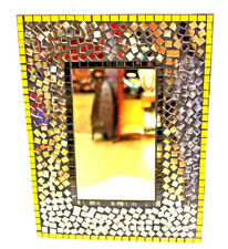 Wall Decor Mirror Beautiful Nice Gift Black Yellow Gold Mosaic Inlay Amazing