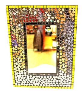Wall Decor Mirror Beautiful Nice Gift Black Yellow Gold Mosaic Inlay Amazing